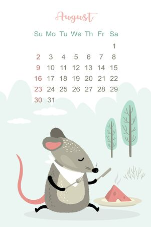 August month 2020 template design. Calendar 2020 with funny and cute rat. Vertical layout. Happy animal character mouse eats cheese. Vector illustration Stock Illustratie