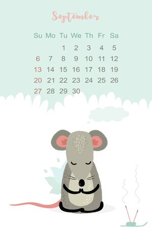 September month 2020 template design. Calendar 2020 with funny and cute rat. Vertical layout. Animal character sitting in yoga pose.Mouse in lotus pose. Vector illustration