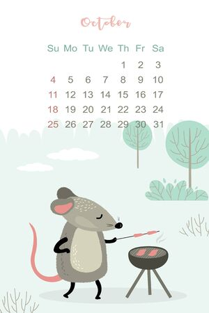 October month 2020 template design. Calendar 2020 with funny and cute rat. Vertical layout. Animal character cooking on the barbecue. Mouse on BBQ party. Vector illustration