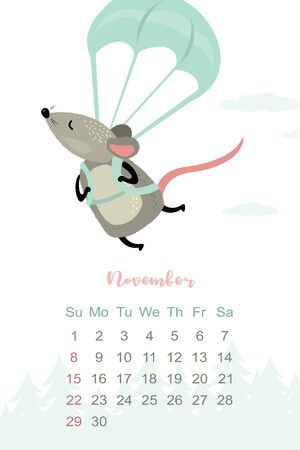 November month 2020 template design. Calendar 2020 with funny and cute rat. Vertical layout. Animal character parachute jumper.Extreme sport skydiving paragliding mouse. Vector illustration Stock Illustratie