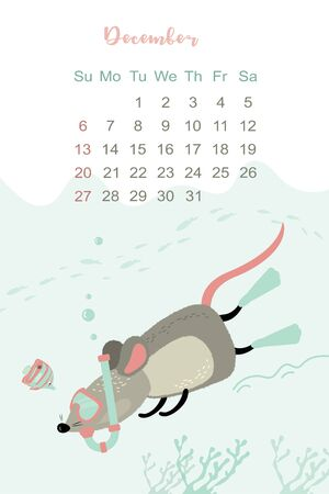 December month 2020 template design. Calendar 2020 with funny and cute rat. Vertical layout. Animal character underwater.Mouse diver. Vector illustration