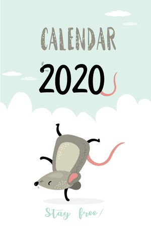Calendar cover 2020 template design with funny and cute active rat. Vertical layout. Stay free concept background. Vector illustration