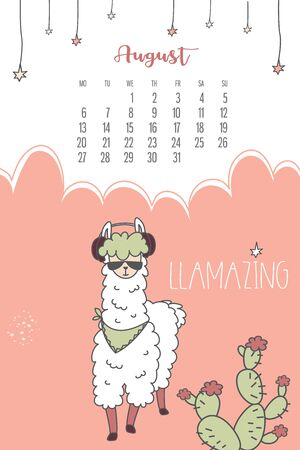 Calendar for August 2020 from Monday to Sunday. Fashion llama with glasses and headphones.