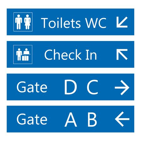 Blue and white Airport Signs template,isolated on white background,vector illustration.