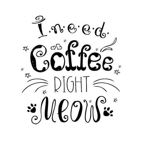 I need coffee right meow,funny cute background or poster