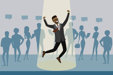 Cartoon business people group stand out from crowd spotlight Иллюстрация