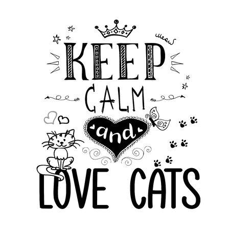Mascotas divertidas y letras: mantén la calma y ama a los gatos
