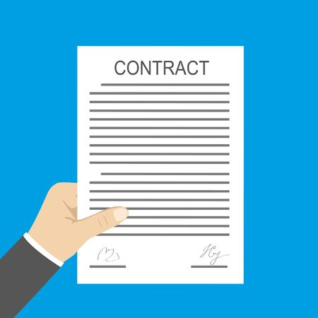 Hand holding contract document,isolated on blue background,flat vector illustration