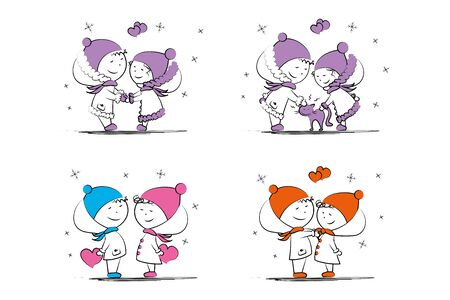 Set of love couple,doodle male and female in winter clothes isolated on white background,vector illustration