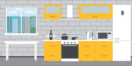 Fashionable kitchen interior on a brick wall background,window and table,flat vector illustration