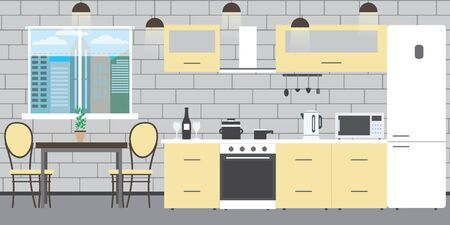 Modern kitchen interior with furniture on a brick wall background,window and table,flat vector illustration 일러스트