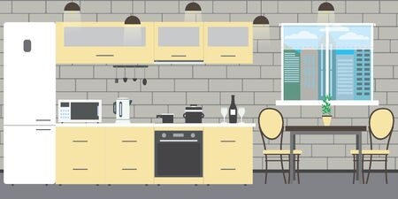 Modern kitchen interior with furniture on a brick wall background,window and table,flat vector illustration.