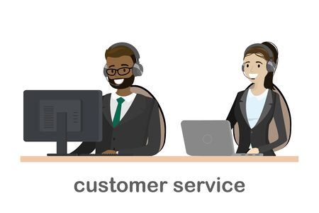 Online customer service concept,african american male and caucasian female behind a desk,isolated on white background,flat vector illustration