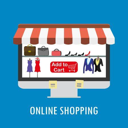 Shopping online, negozio di vestiti e accessori sullo schermo del monitor, illustrazione vettoriale piatta Vettoriali