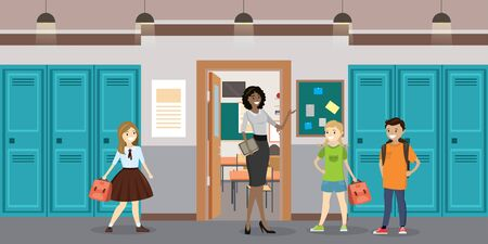 Cartoon Teacher and students in the school hall,school interior, flat vector illustration Ilustracja