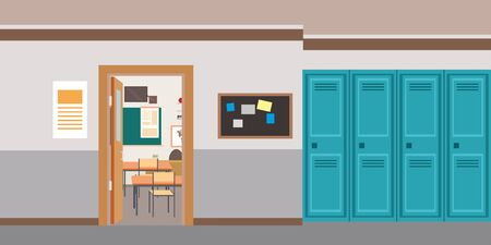 Cartoon empty school interior,open door in classroom,flat vector illustration Ilustracje wektorowe