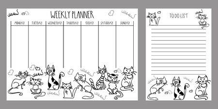 Weekly planner and to do list with cute cats,adorable pets,vector illustration