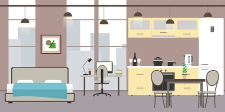 Empty Studio apartment with big windows. Bed, workspace and kitchen with utensils, flat vector illustration