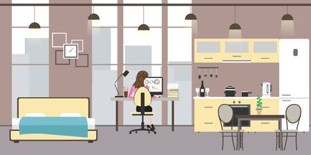 Studio apartment with big windows. Bed, workspace and kitchen with utensils,woman sitting at the table and working, flat vector illustration Illusztráció