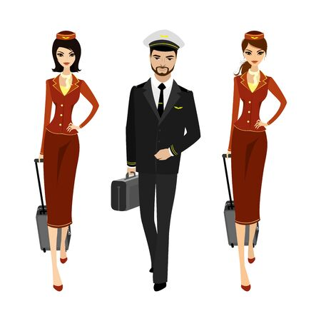 Caucasian Pilot and two flight attendants in the uniform of walking.Aircrew with suitcases. Isolated on white background, vector illustration