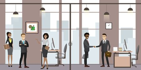 Caucasian Business people in modern office,Cartoon office manager in the workplace,flat vector illustration