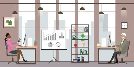 Caucasian Business people in modern office,Cartoon office manager in the workplace,flat vector illustration.
