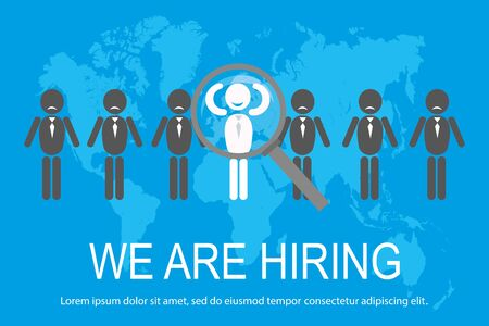 Flat candidate selection,human icon for the job vacancy, Ilustração
