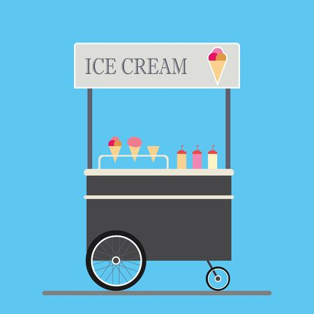 Cartoon trolley with ice cream, flat design vector illustration