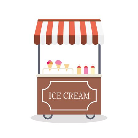 Cartoon trolley with ice cream,isolated on white background, flat design vector illustration