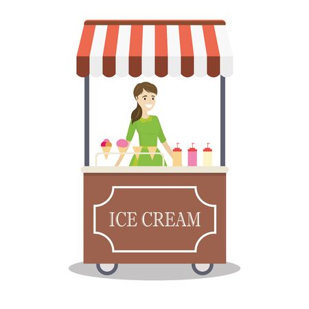 Cartoon trolley with ice cream and caucasian seller female, flat design vector illustration  イラスト・ベクター素材