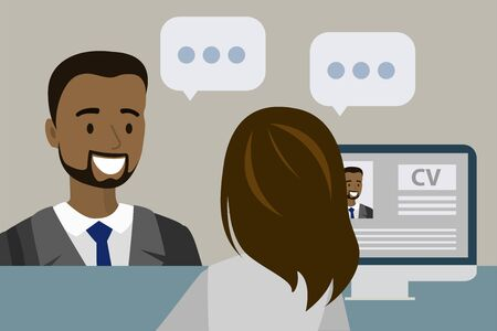 Businessman or office worker having a job interview in the office, flat vector illustration