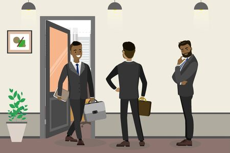 Cartoon african american businessman and waiting people near office Ilustração