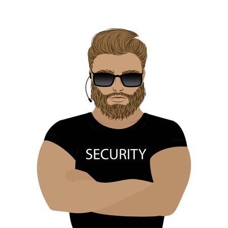 Security man,isolated on white background Illustration