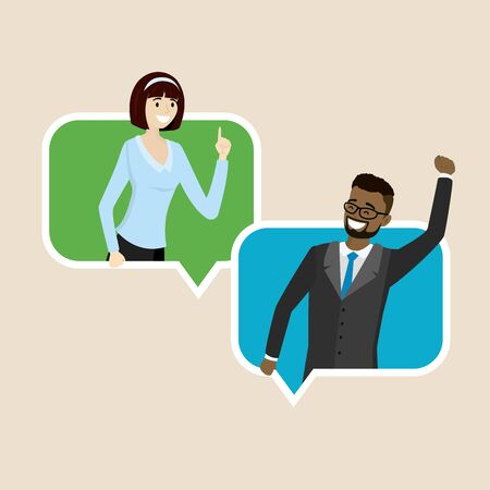 Cartoon businesswoman and businessman in speech bubble, smiling female and male,flat vector illustration Ilustração