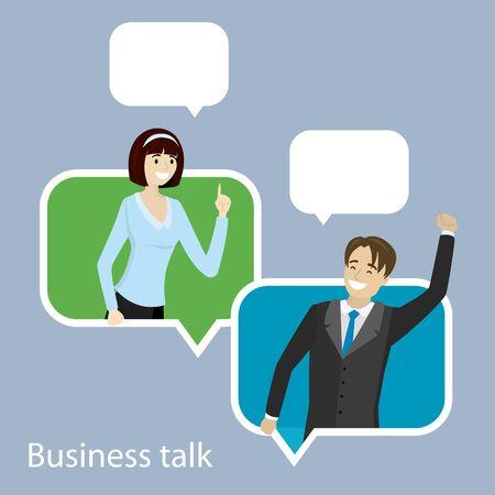 Cartoon caucasian businesswoman and businessman in speech bubble, smiling female and male,flat vector illustration Ilustração