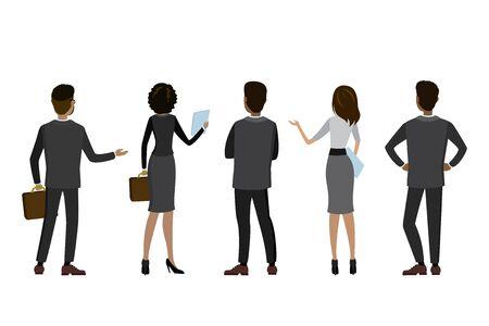 Gente de negocios de dibujos animados vista posterior, aislado sobre fondo blanco, ilustración vectorial plana