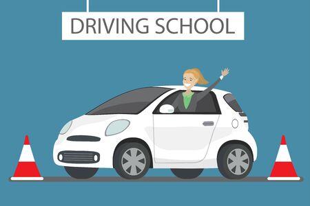 Happy cartoon caucasian female siting in white driving school car outdoor. Design concept drivers education,flat vector illustration Stock Illustratie