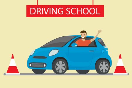 happy young caucasian man siting in blue driving school car outdoor. Design concept drivers education,flat style vector illustration