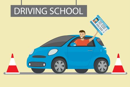 happy young caucasian man siting in blue driving school car outdoor.Male with driver license, Design concept drivers education,flat style vector illustration