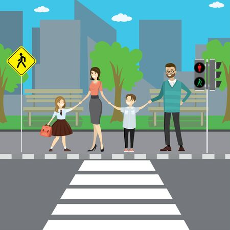 Happy caucasian family on city street,pedestrian crossing with road sign and traffic light,flat vector illustration