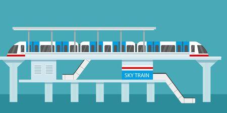 Subway or skytrain station,city metro,flat vector illustration
