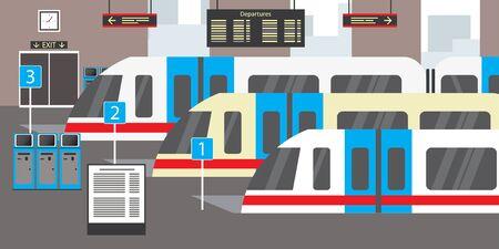 Empty train station,transportation concept,flat vector illustration Vectores
