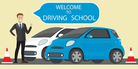 White and blue driving school car,caucasian male instructor with speech bubble- welcome to driving school,flat style vector illustration