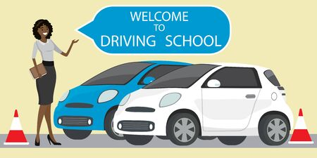 White and blue driving school car,African american female instructor with speech bubble- welcome to driving school,flat style vector illustration