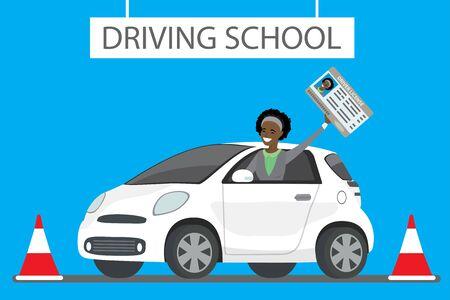 Fröhliche Karikatur afroamerikanische weibliche Standortwahl im weißen Fahrschulauto im Freien. Mädchen mit Führerschein Designkonzept Fahrerausbildung, flache Vektorillustration Vektorgrafik