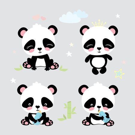 Four cute panda,funny cartoon vector
