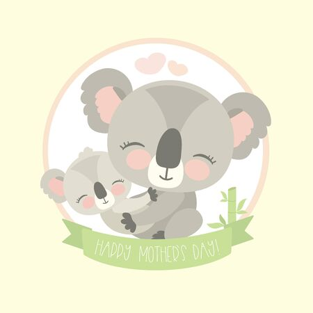 Cute koala bear with child,wild animal isolated,happy mother day