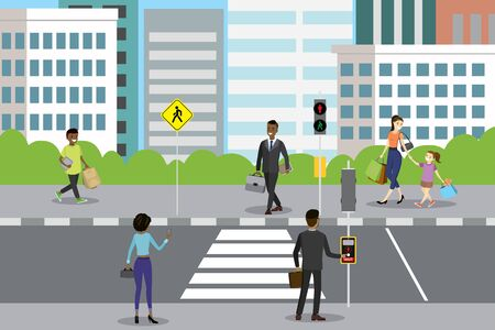 city street with pedestrian crossing and traffic lights,different people walk and stand,flat vector illustration Ilustracja