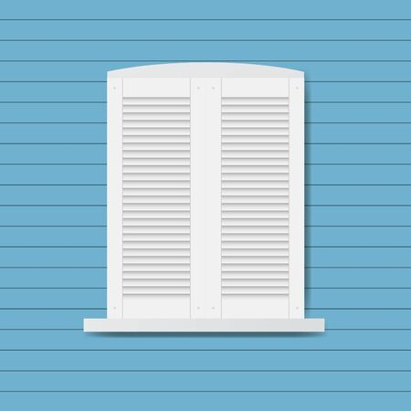 Window closed by wooden shutters,flat vector illustration