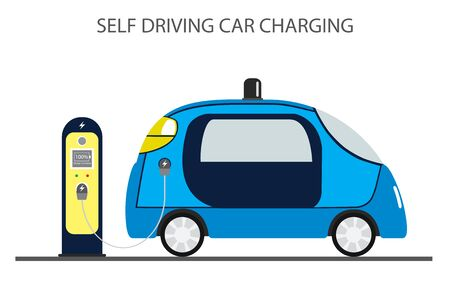 autonomous car,self driving auto and charging station